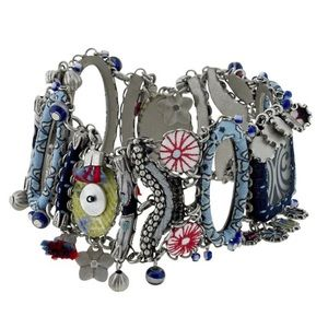 Denim Blues & Beads Bracelet, NWT